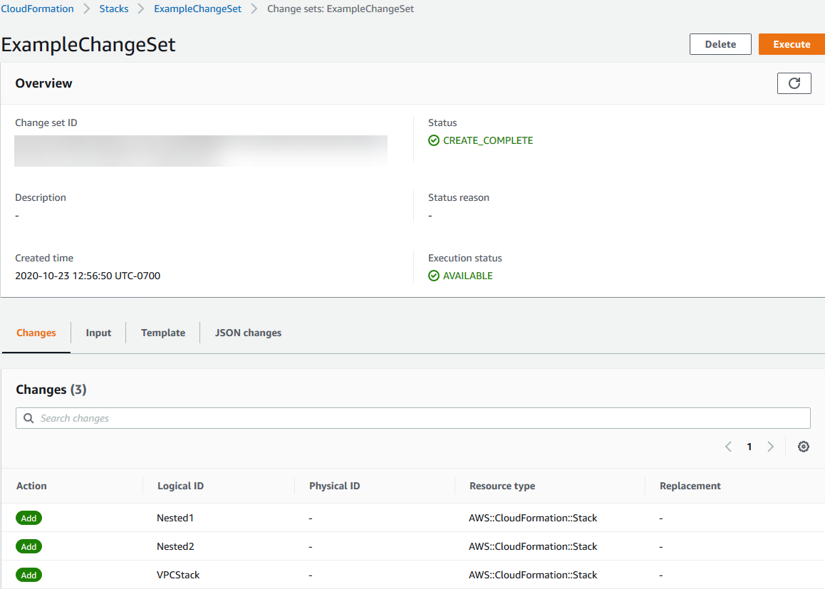 Creating a Change Set - AWS CloudFormation