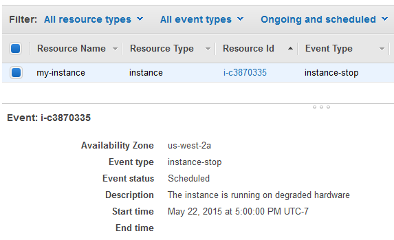 Scheduled Events for Your Instances - Amazon Elastic Compute