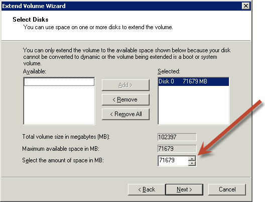 Extending a Windows File System after Resizing a Volume