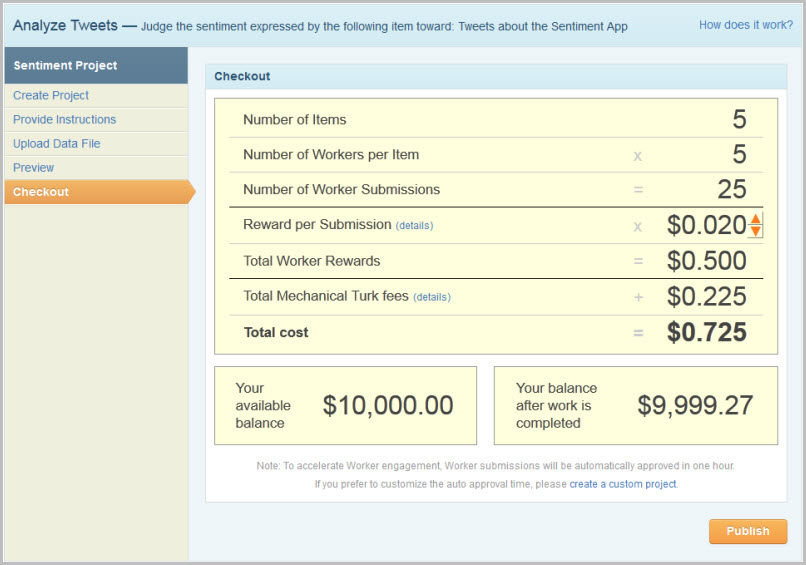 How to Create a Sentiment Project - Amazon Mechanical Turk