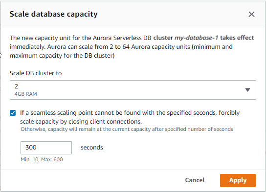 Setting the Capacity of an Aurora Serverless DB Cluster