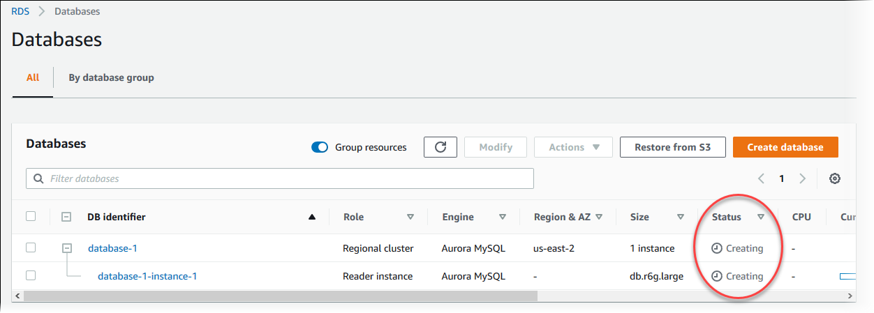 Creating a DB Cluster and Connecting to a Database on an Aurora