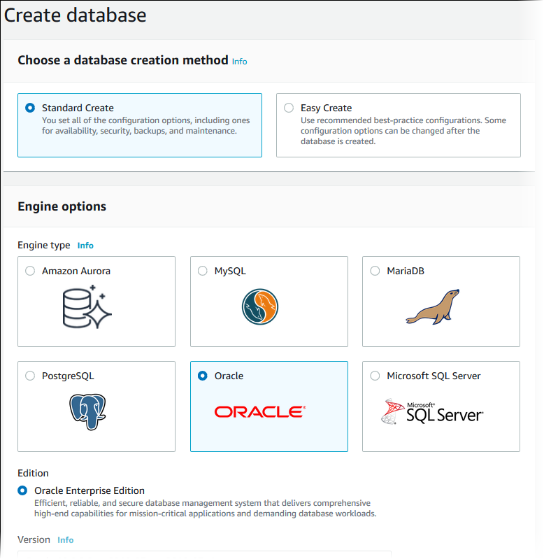 Creating A Db Instance Running The Oracle Database Engine Amazon