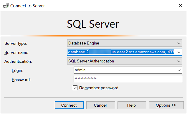 Connecting to a DB Instance Running the Microsoft SQL Server Database