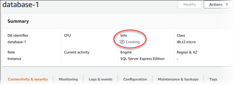 Creating a Microsoft SQL Server DB Instance and Connecting to a DB
