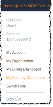 AWS Management Console My Security Credentials link