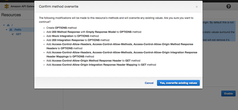 Enable CORS for an API Gateway REST API Resource - Amazon API Gateway
