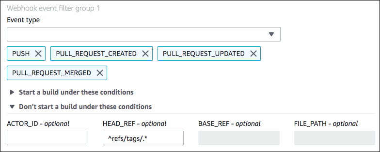 Bitbucket Pull Request and Webhook Filter Sample for CodeBuild - AWS