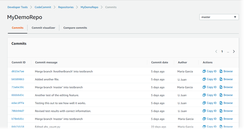 View Commit Details in AWS CodeCommit - AWS CodeCommit