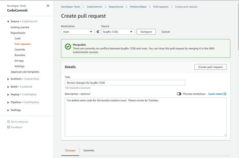 Working with Pull Requests in AWS CodeCommit Repositories