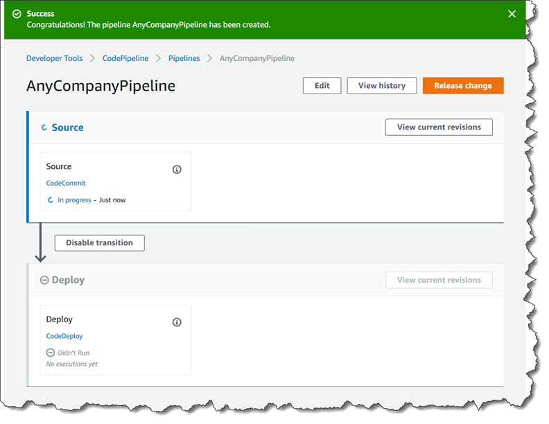 Tutorial: Create a Simple Pipeline (CodeCommit Repository