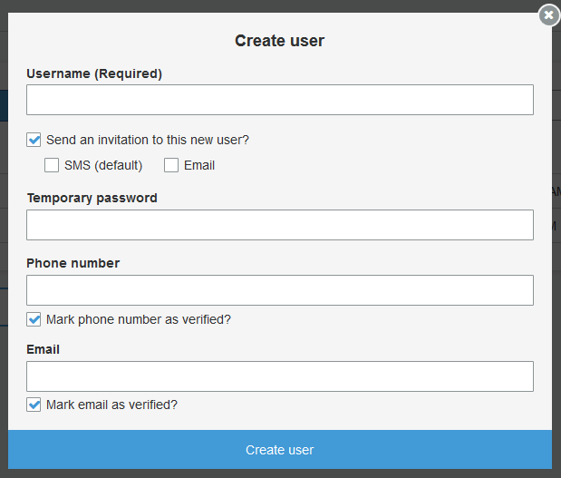 Create User Form In The Users Tab.