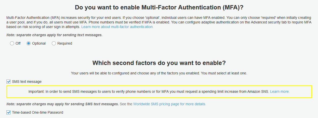 Adding Multi-Factor Authentication (MFA) to a User Pool