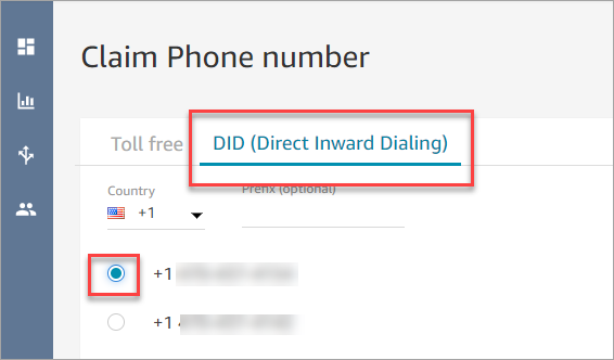 Step 3: Claim a phone number - Amazon Connect