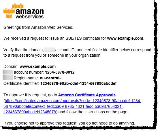 Mit E-Mail den Domänenbesitz prüfen - AWS Certificate Manager