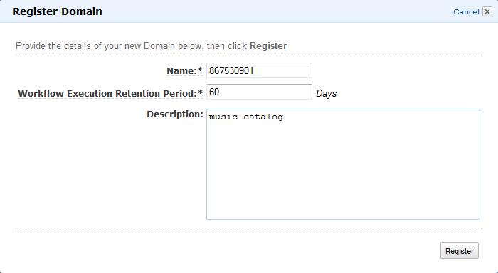Registrieren Einer Amazon Swf Domäne Amazon Simple Workflow Service