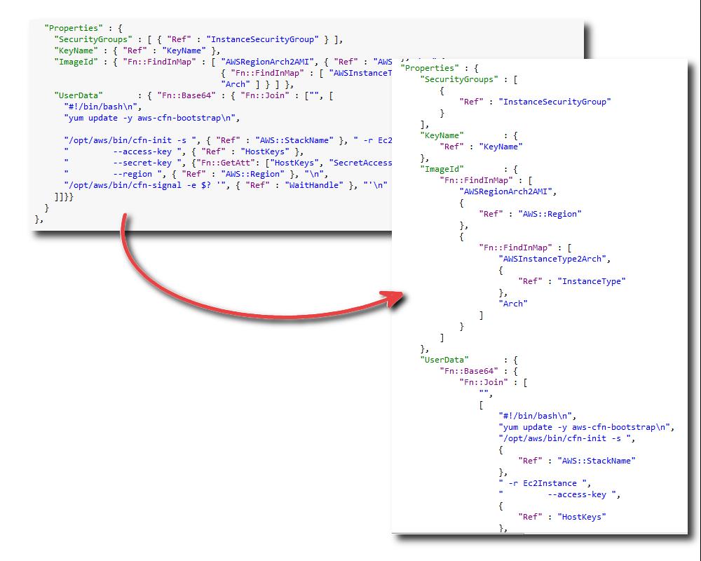 Formatieren einer AWS CloudFormation-Vorlage in Visual Studio ...