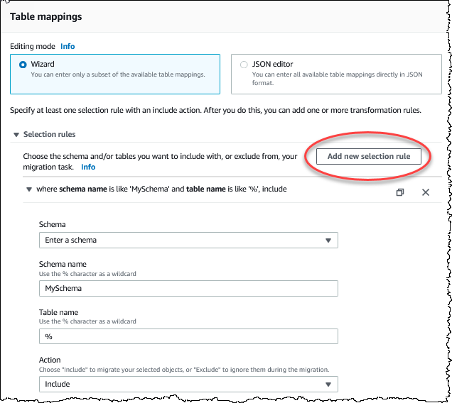 Using Table Mapping to Specify Task Settings - AWS Database