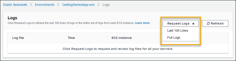 Viewing Logs from Amazon EC2 Instances in Your Elastic Beanstalk