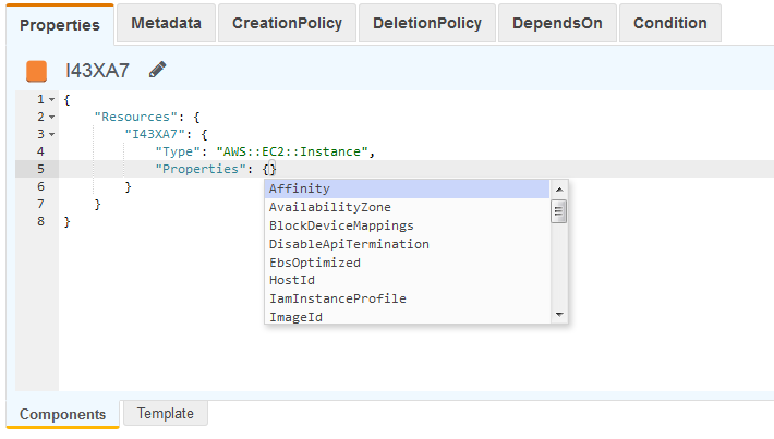 Opciones para autocompletar en un ejemplo de JSON.
