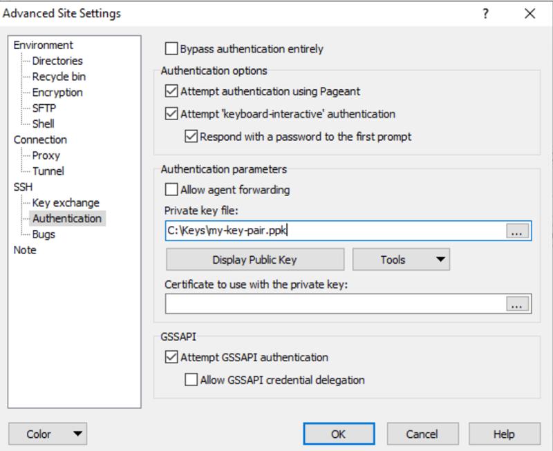 Pantalla de opciones avanzadas de WinSCP