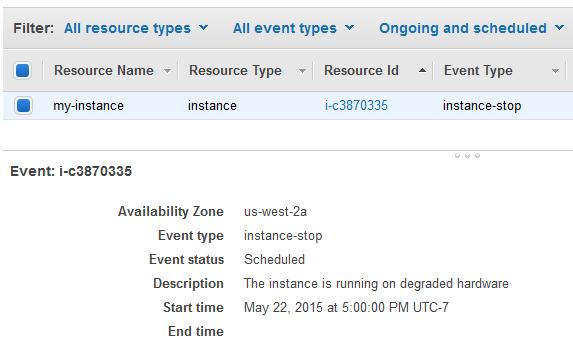 Eventos programados para las instancias - Amazon Elastic ...