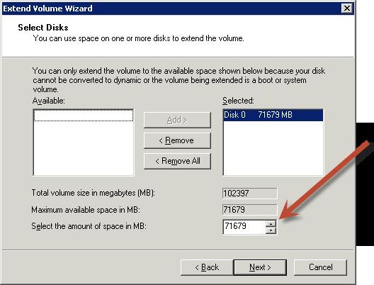 Ampliación de un sistema de archivos Windows después de ...