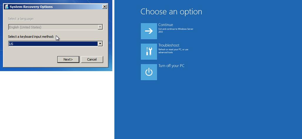 Captura de pantalla de la consola de recuperación