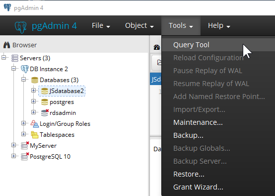 ... el navegador de pgAdmin, expanda Servers (Servidores), la instancia de base de datos y Databases (Bases de datos). Elija el nombre de base de datos de ...