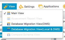 View > Database Migration View (Local & DMS) [Ver > Vista de migración