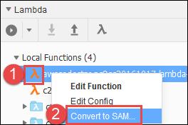 Comando de conversión a SAM en la sección Lambda de la ventana AWS Resources (Recursos