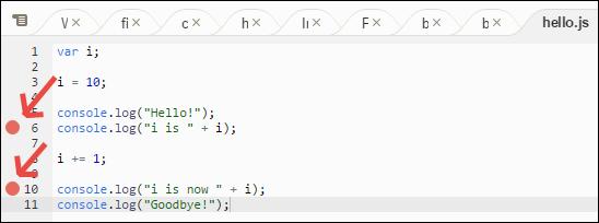 Adición de puntos de interrupción en el código en la ventana Debugger (Depurador)