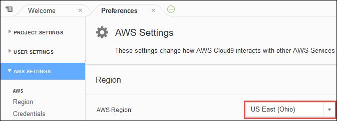 Selector de regiones de AWS en el IDE de AWS Cloud9