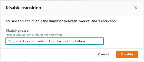 La flecha entre etapas muestra un icono y cambia de color, y aparece el botón Enable transition (Habilitar transición).