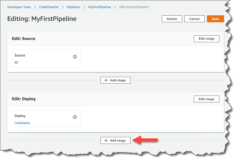 En la página Edit (Editar), elija + Add stage (Añadir fase) para añadir una fase inmediatamente después de la fase Deploy (Implementar).