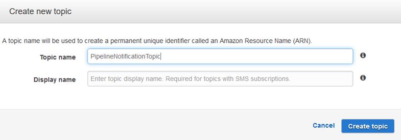 Creación del tema de notificación mediante Amazon SNS.