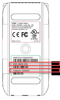 Imagen: parte inferior del dispositivo, en la que se muestra el SSID y la