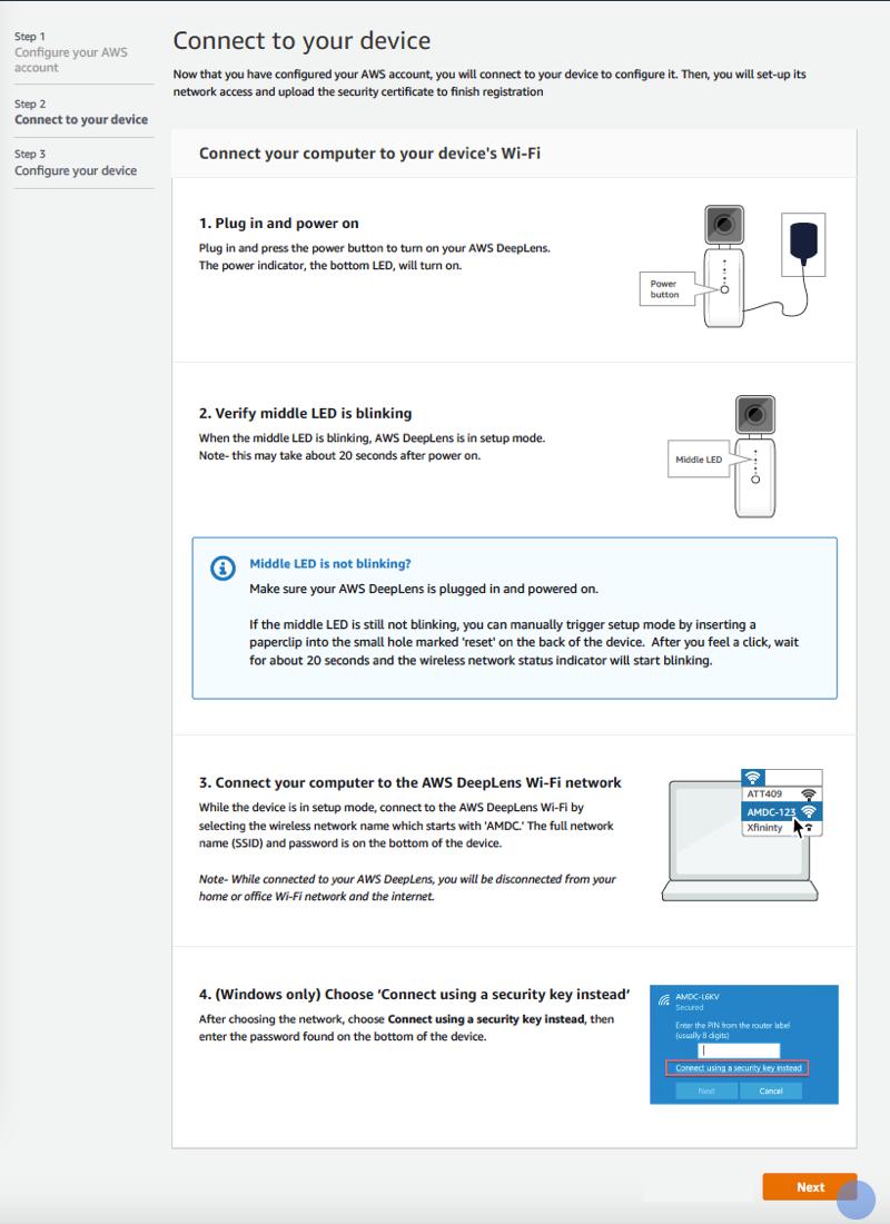 Imagen: conectarse a un dispositivo en el registro de dispositivos de AWS.