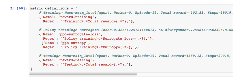 Imagen: Configurar las métricas registradas durante el entrenamiento.