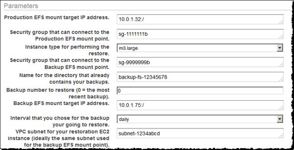 En Parameters (Parámetros), proporcione los detalles de sus sistemas de archivos de EFS de producción y de copia de seguridad.