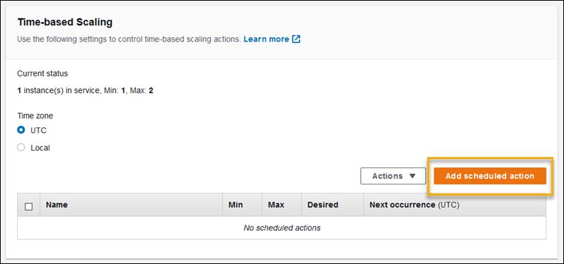 Acciones programadas de Auto Scaling - AWS Elastic Beanstalk