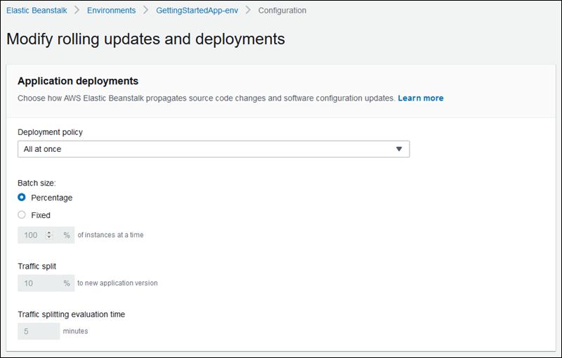 Políticas y ajustes de implementación - AWS Elastic Beanstalk