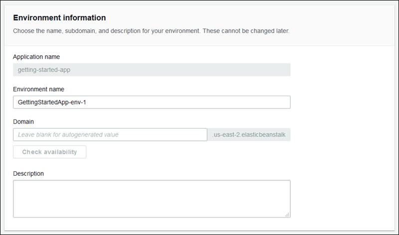 El asistente de creación de nuevo entorno - AWS Elastic ...