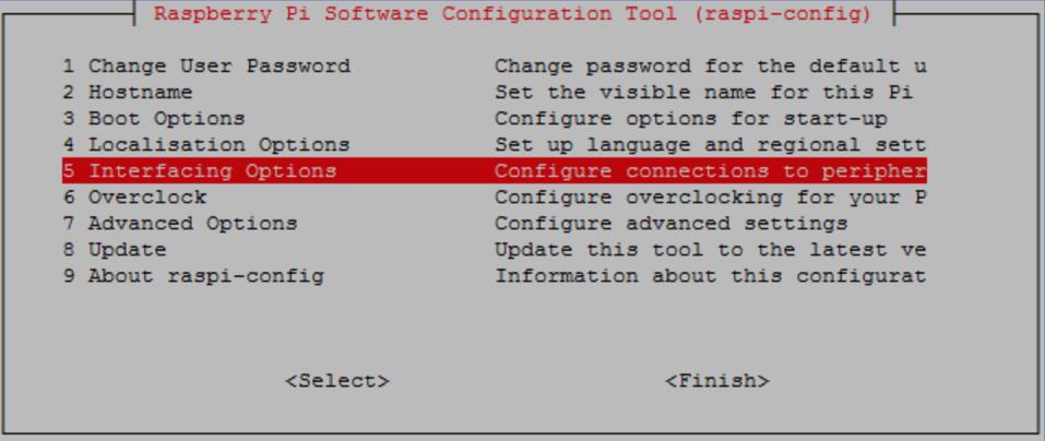 Captura de pantalla de Raspberry Pi Software Configuration Tool (raspi-config).
