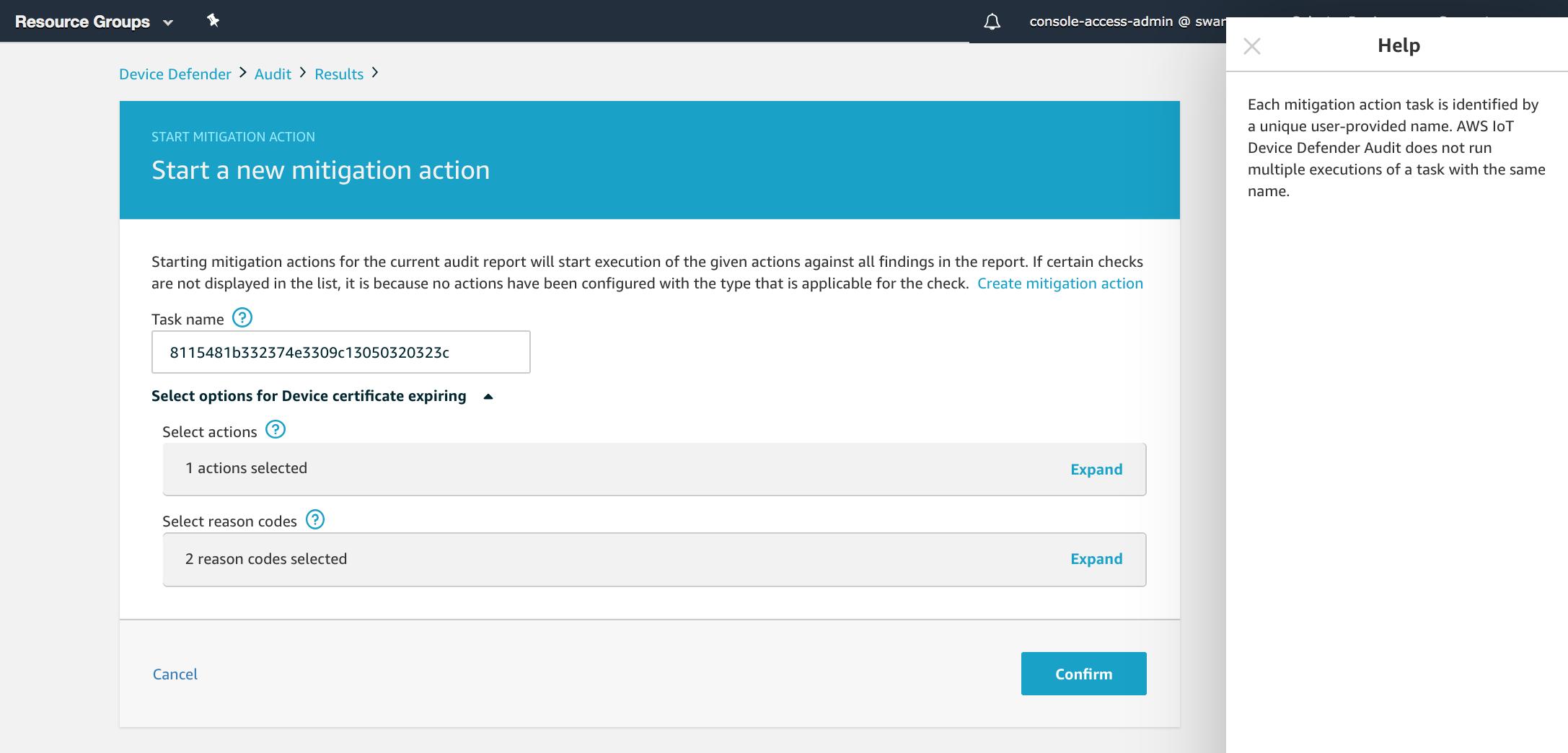 Acciones de mitigación - AWS IoT