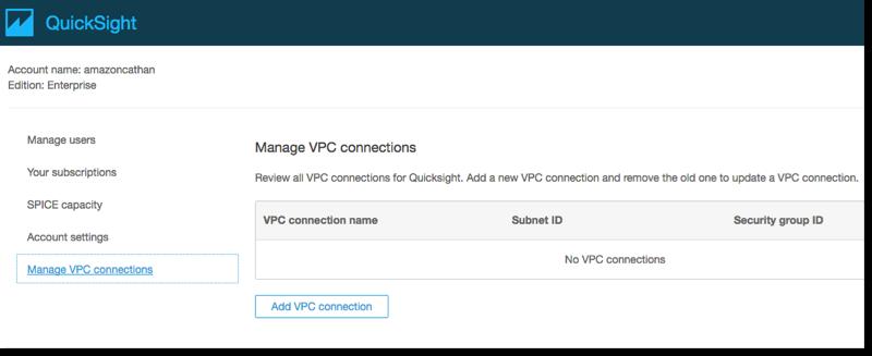 Aparecerá la página Account Settings (Configuración de cuenta). En ella se muestran todas las conexiones privadas a las VPC.