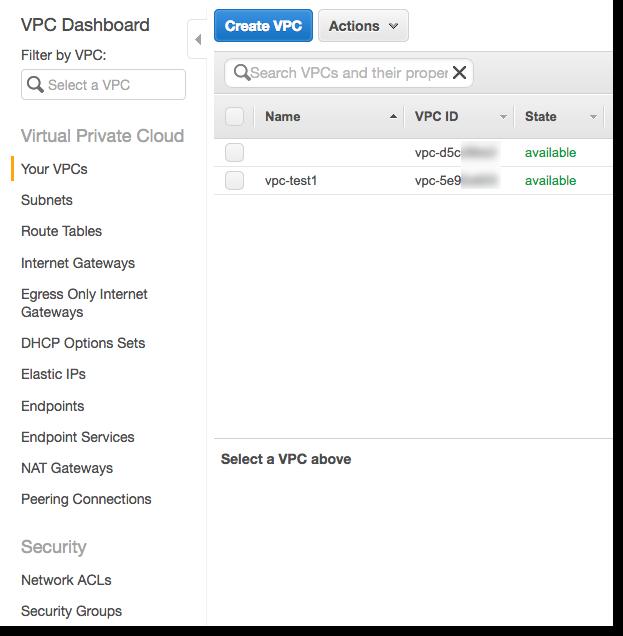 En la consola de Amazon VPC, busque el VPC ID (ID de VPC) que desea utilizar.