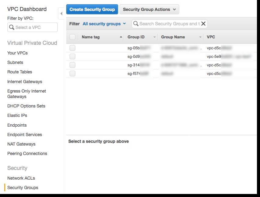 El grupo de seguridad del servidor de bases de datos debe permitir el tráfico de entrada procedente del grupo de seguridad que elija.