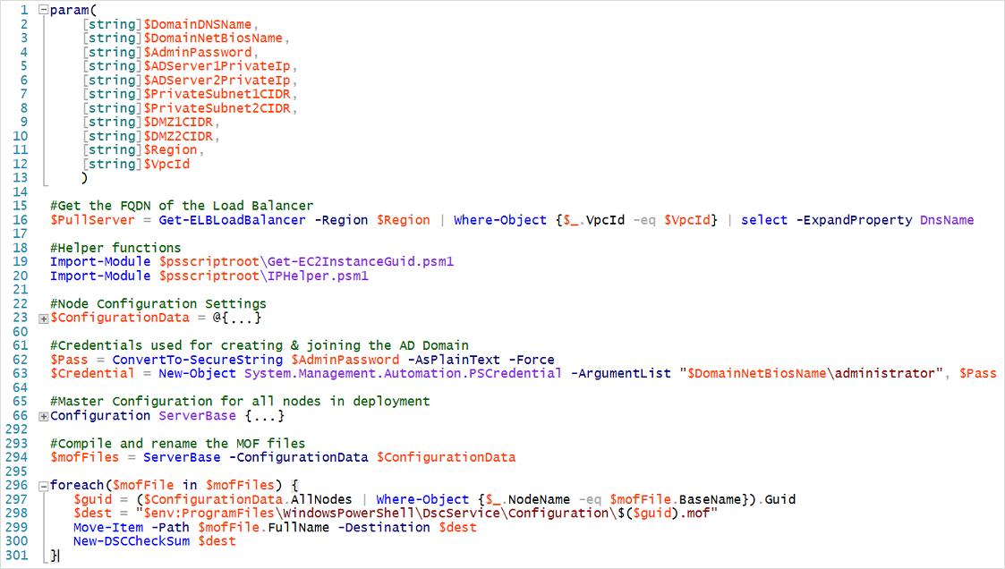 La estructura del script de configuración principal