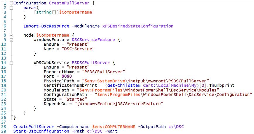 Script de configuración del servidor de extracción